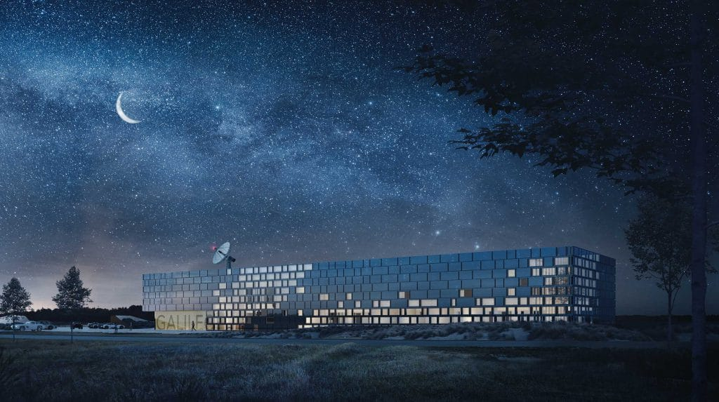 Galileo Reference Centre building with the sky full of stars in Nordwijk in the Netherlands