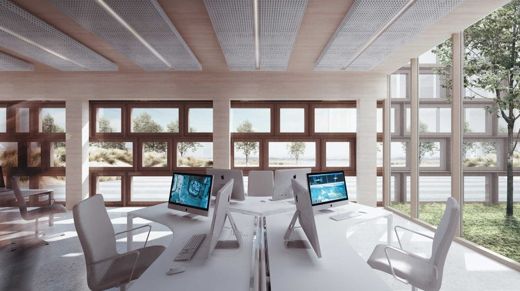 Galileo Reference Centre workspace with rectangular window facade
