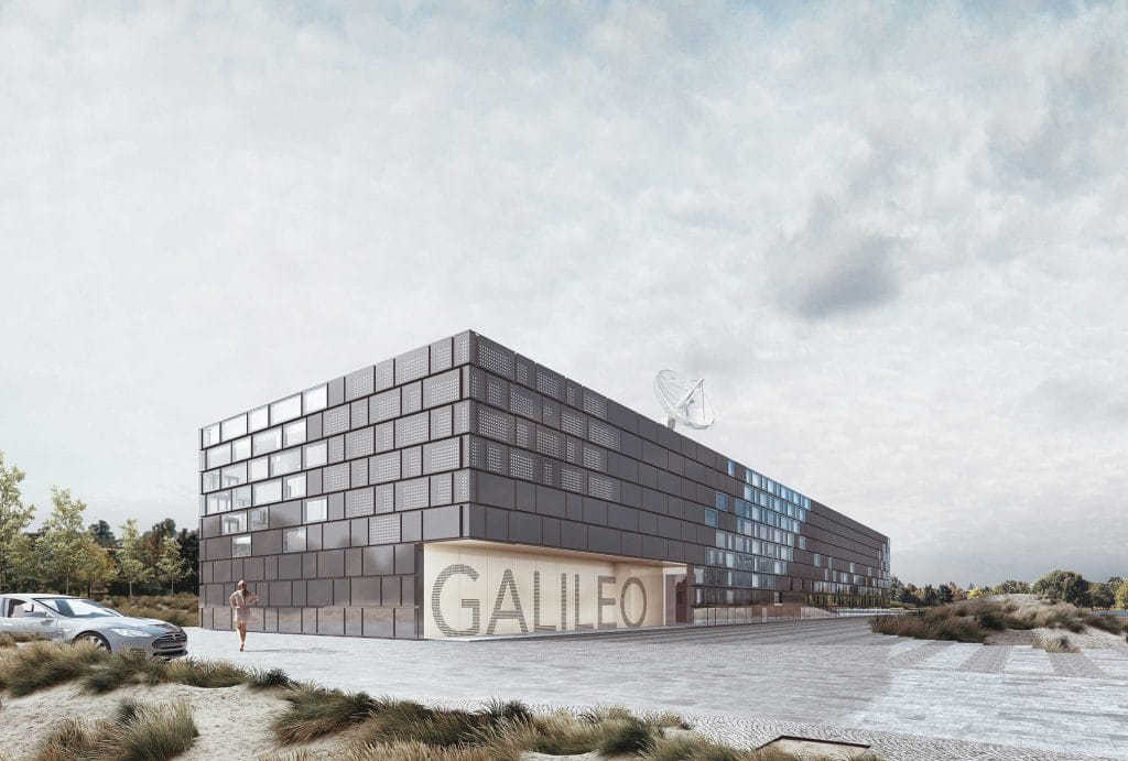 Galileo Reference Centre building entrance during a cloudy day in Nordwijk in Netherlands - big