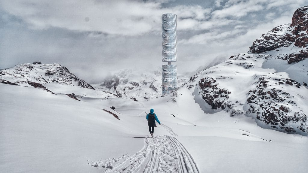 A futuristic tower on top of snowy mountain