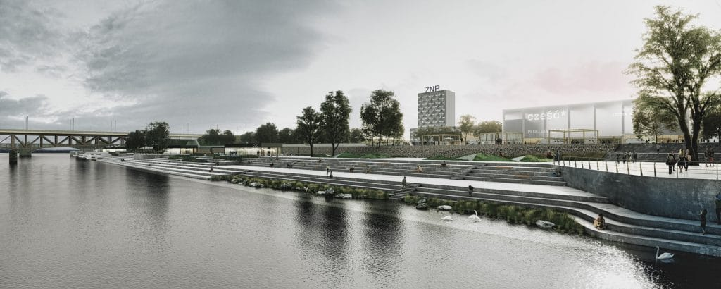 A panoramic view of the riverside boulevard in Warsaw showing landscape stairs